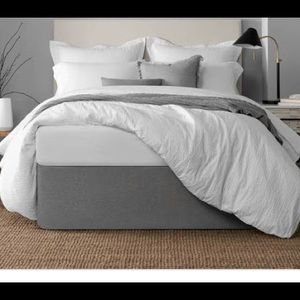 """Kenneth Cole Reaction Home- Willow Gray Stripes, 15"""" Drop dust ruffle bed skirt"""